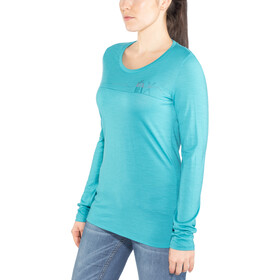 Icebreaker Tech Lite Skis in Snow LS Low Crewe Shirt Damen arctic teal